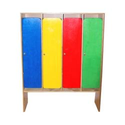 Шкаф в раздевалку четырехсекционный с разноцветными дверками