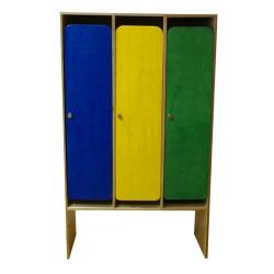 Шкаф в раздевалку трехсекционный с разноцветными дверками
