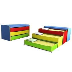 Тумба-кровать детская 3-х секционная выкатная цветная
