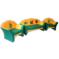 Комплект мягкой мебели «Карина» с аппликацией - Лужайка