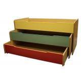 Выкатная кровать 2-х секционная цветная