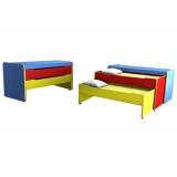 Тумба-кровать детская 2-х секционная выкатная цветная