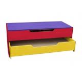 Тумба-кровать детская 2-х секционная выкатная с крышкой цветная