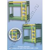 Кровать детская двухъярусная L-1200 Цветная (массив)